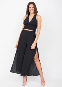 Side Split Holiday Trousers Wide Leg Black