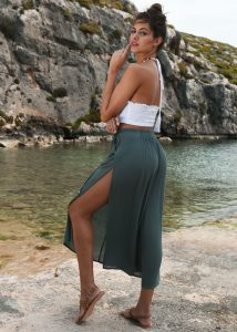 Side Split Holiday Trousers Wide Leg Verona Green