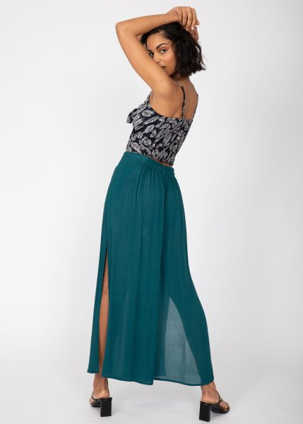 Side Split Wide Leg Relaxed Trousers in Teal
