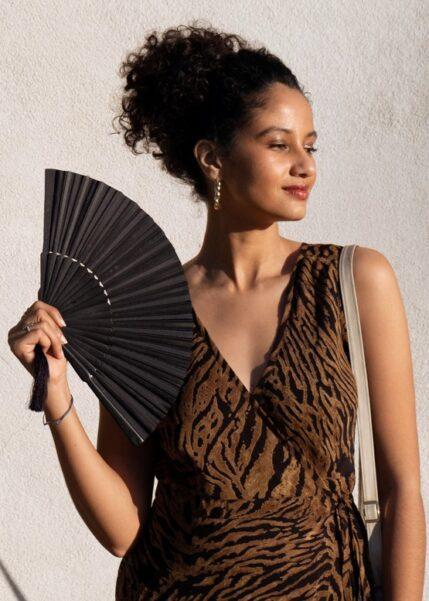 Silk Hand Fan Black 3 sizes