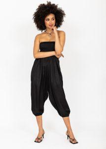 Silk Look Convertible Harem Trouser and Capri Jumpsuit Black