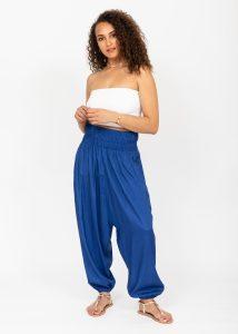 Silk Look Convertible Harem Trouser and Capri Jumpsuit Cobalt