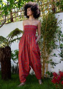 Silk Look Maxi Harem Trouser Jumpsuit Cobalt
