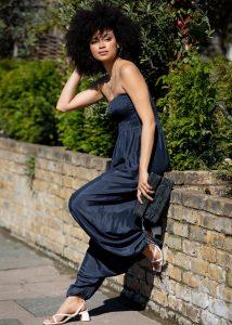 Silk Look Maxi Harem Trouser Jumpsuit Midnight Blue