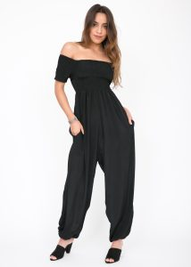 Silk Look Off Shoulder Harem Jumpsuit Black