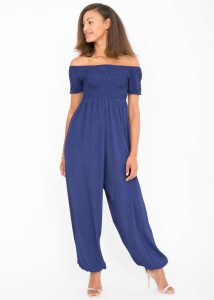 Silk Look Off Shoulder Harem Jumpsuit Cobalt Blue