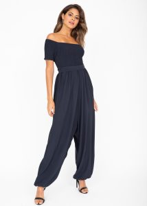 Silk Look Off Shoulder Harem Jumpsuit Midnight Blue