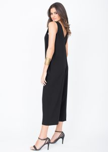 Sleeveless Jumpsuit Cropped Relaxed Romper Black