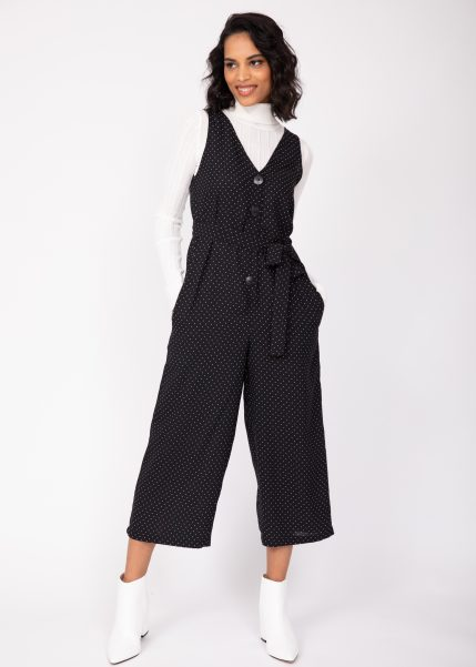 Sleeveless Jumpsuit Cropped Relaxed Romper Black Polka Dots