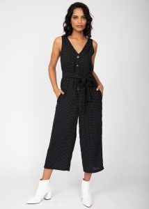Sleeveless Jumpsuit Cropped Relaxed Romper Black with Green Pin Stripes