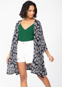 Kimono Cover Up with Lace Trim in Black & White Leaves