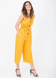 Sleeveless Jumpsuit Cropped Relaxed Romper Yellow