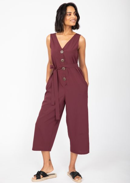 Sleeveless Jumpsuit Cropped Relaxed Romper Burgundy Red