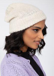 Slouch Beanie Hat Merino Wool Cream Ivory
