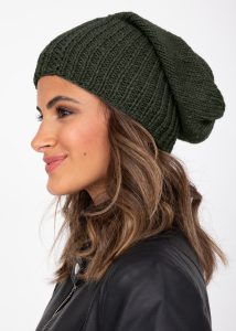 Slouch Beanie Hat Merino Wool Khaki Green