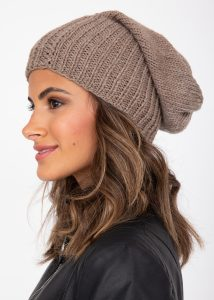 Slouch Beanie Hat Merino Wool Mocha Brown