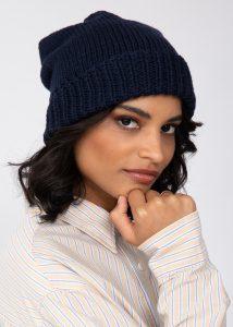 Slouch Beanie Hat Merino Wool Navy Blue