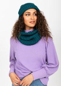 Slouch Beanie Hat Merino Wool Teal
