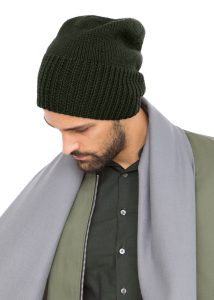 Slouch Men's Beanie Hat Merino Wool Khaki Green