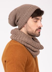Slouch Men's Beanie Hat Merino Wool Mocha Brown