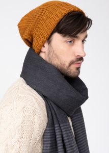 Slouch Men's Beanie Hat Merino Wool Mustard Yellow