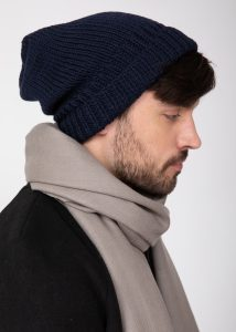 Slouch Men's Beanie Hat Merino Wool Navy Blue