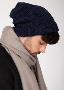 Slouch Men's Beanie Hat Merino Wool Navy Blue