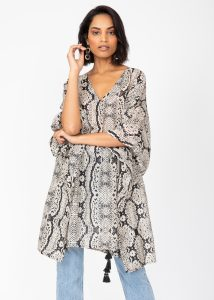 Snake Print Kaftan in Cotton and Silk Blend