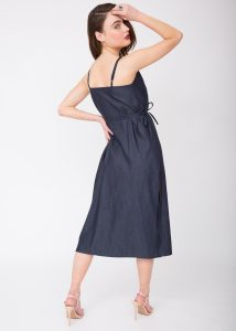 Soft Denim Midi Wrap Dress