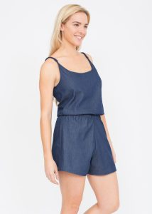 Strappy Denim Playsuit