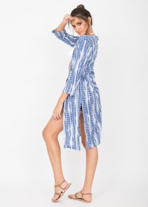 Summer Cover Up Crinkle Kimono Kaftan Tie Dye Blue