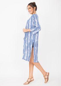 Summer Cover Up Crinkle Kimono Kaftan Tie Dye Blue