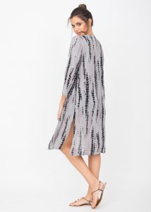 Summer Cover Up Crinkle Kimono Kaftan Tie Dye Grey