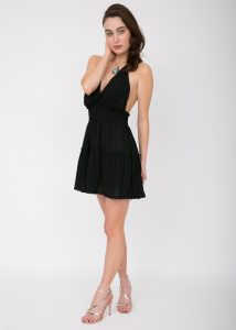 Summer Days Halter Mini Dress Black