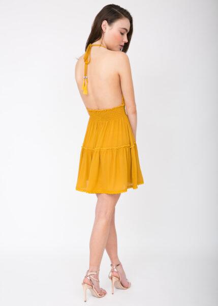 Summer Days Halter Mini Dress Mustard