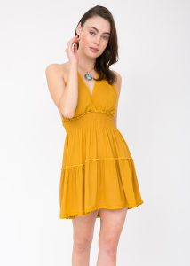 Summer Days Halter Mini Dress Mustard