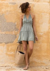 Summer Days Halter Mini Dress Pistacchio