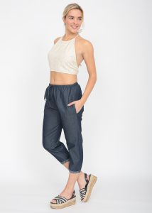 Summer Denim Cropped Harem Pants