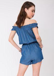 Summer Denim Off Shoulder Bardot Playsuit