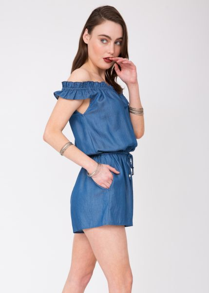 Summer Denim Off Shoulder Bardot Playsuit
