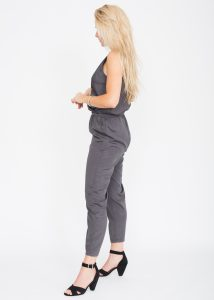 Take Me Out Crossover Jumpsuit Grey