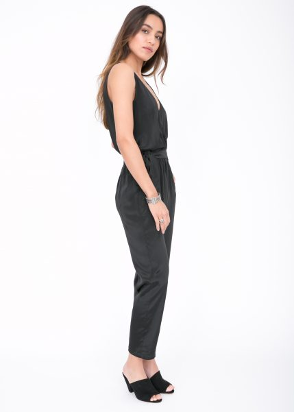 Take Me Out Open Back Jumpsuit Black