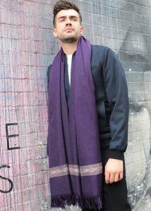 Takhi Merino Handwoven Oversize Scarf Purple 100 X 200cm