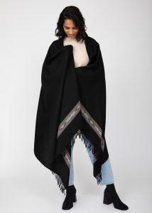 Takhi Merino Handwoven Shawl & Oversize Scarf Black 100 X 200