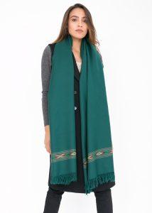 Takhi Merino Handwoven Shawl & Oversize Scarf Blanket Green