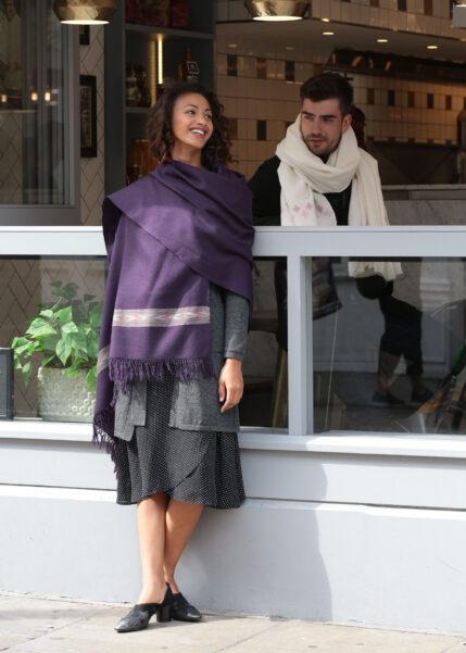 Takhi Merino Handwoven Shawl & Oversize Scarf Blanket Purple