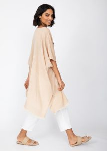 Textured Cotton Kimono Kaftan in Sand Neutral