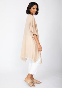 Textured Cotton Kimono Kaftan in Sand Neutral