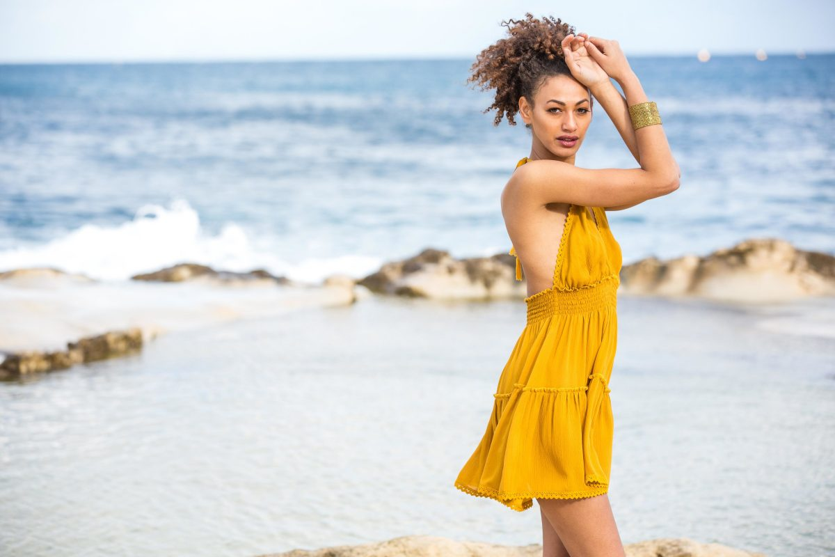 Holiday day dress beach cover up in mustard
