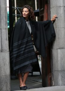Twill Handwoven Merino Shawl and Oversize Scarf with Stripes 100 X 200cm Black